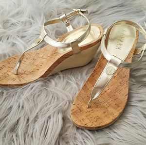 Ralph Lauren gold wedge sandals size 9